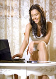 Girl with notebook computer Royalty Free Stock Photo