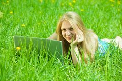 Girl with  notebook outdoor Royalty Free Stock Photography