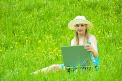Girl with  notebook outdoor Stock Photos