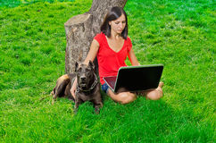 A girl with a notebook sitting under  with a dog Royalty Free Stock Image
