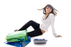 Girl, Notebook and Two Shopping Bags Stock Images