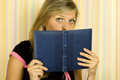 Girl with notebooks Royalty Free Stock Photos