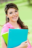 Girl with notebooks Stock Photography