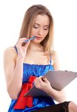 Girl with notepad Stock Image