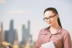 Girl with notepad Stock Photo