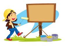 Girl and notice board Stock Images