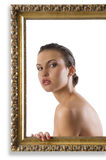 Girl with nude shoulder royalty free stock images