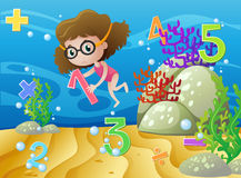 Girl and numbers underwater Royalty Free Stock Images