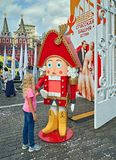 Girl and Nutcracker on Red square, Moscow, Russia stock photo