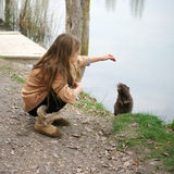 Girl with nutria Stock Images