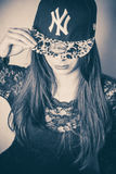 Girl with NY cap stock images