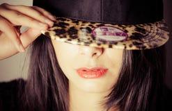 Girl with NY cap stock photography
