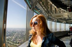 Girl on the observation. Platform of the Ostankino Tower in Russia Royalty Free Stock Image