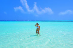 The girl in the ocean Royalty Free Stock Photography