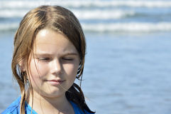 Girl and ocean. Royalty Free Stock Photography
