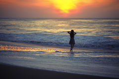 Girl and ocean Stock Photography