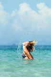 The girl in the ocean Stock Images