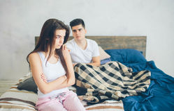 The girl is offended by the guy. Family quarrel.  Royalty Free Stock Photography