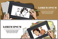 Girl offended on guy. Hand paints picture. Stock illustration. People in retro style. Presentation template. Girl offended on guy. Hand paints picture on tablet Stock Images