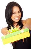 Girl offering a gift Royalty Free Stock Photo