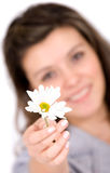 Girl offering a white flower Stock Photos