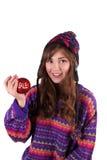 Girl offers bead sale Stock Photo