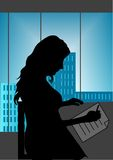Girl in office. Professional young woman writing in a office stock illustration
