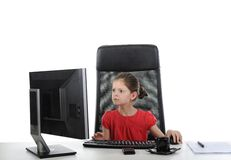 Girl in the office computer Royalty Free Stock Images