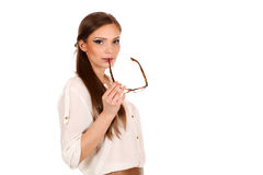 Girl office staff with glasses isolated on white background Royalty Free Stock Photos
