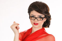 Girl office staff with a red scarf and glasses isolated on white background Stock Photos