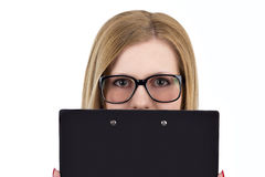 Girl in office style the tablet Royalty Free Stock Photography