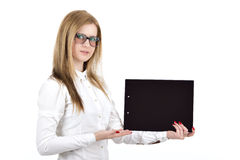 Girl in office style the tablet Stock Image