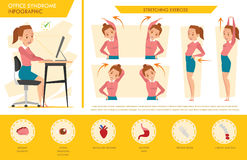 Girl office syndrome info graphic and stretching exercise Stock Images