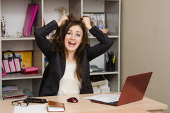 Girl in the office tearing my hair out Royalty Free Stock Images