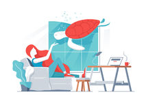 Girl in office with turtle in aquarium. Young girl in office with turtle in aquarium, Vector illustration Stock Photos