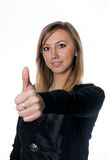 Girl with ok gesture. Young woman showing ok sign (thumb up Royalty Free Stock Photography