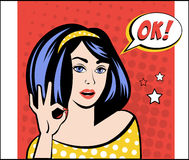 Girl with OK Speech Bubble in Popart Style. Vector Stock Photography