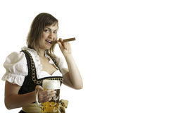 Girl with Oktoberfest Beer Stein and Cigar Stock Images
