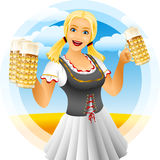 Girl oktoberfest. Oktoberfest girl serving glass of beer with foamy lager. Waitress in traditional bavarian german clothes dirndl on Beer festival Oktoberfest Royalty Free Stock Images
