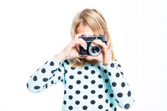 Girl with an old camera Royalty Free Stock Photos
