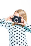 Girl with an old camera Royalty Free Stock Photography