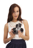 Girl with an old camera Stock Photo