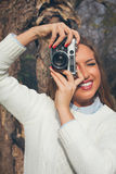 Girl with old camera Royalty Free Stock Photos