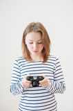 Girl with the old camera Stock Photo