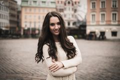 Girl in old european town Royalty Free Stock Image