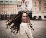 Girl in old european town Stock Image