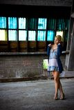 Girl in old factory Royalty Free Stock Photo
