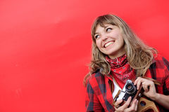 Girl with old film camera Royalty Free Stock Image