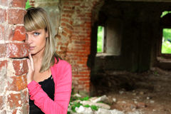Girl in old house Stock Photos
