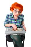Girl with an old keyboard Royalty Free Stock Images